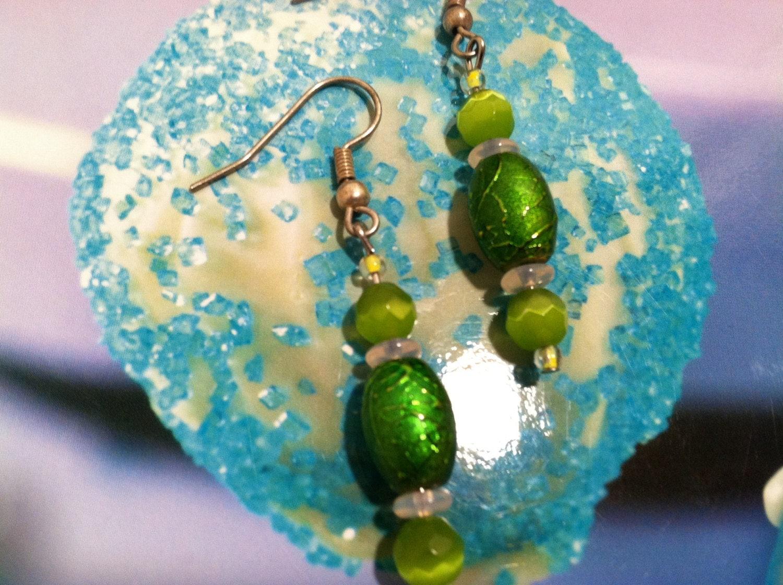 Candy Apple Green Glass Earrings
