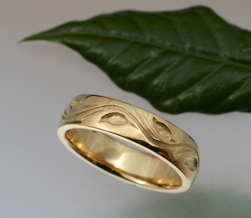 WEDDING BAND Leaf and Vine Design 55mm 14k yellow or white gold