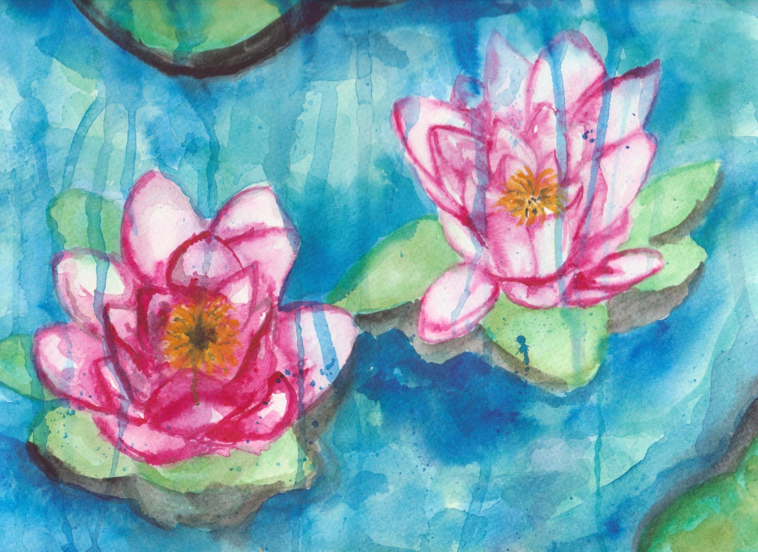 Lotus Flowers in the Rain - Watercolor Painting - Affordable art -SamIamArt - SamIamArt