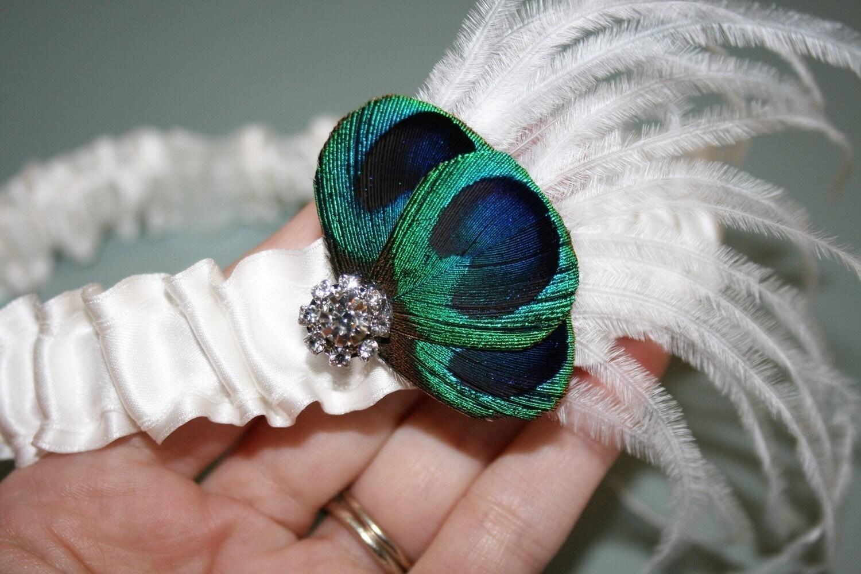 PURE перо павлина и белый шелковый Set Подвязки