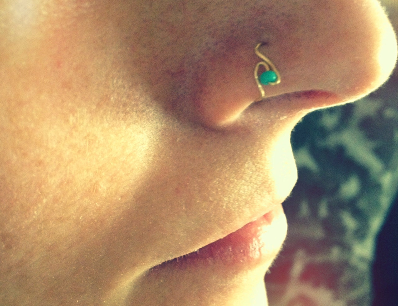 thin nose hoop with teal bead 24 in silver gold by