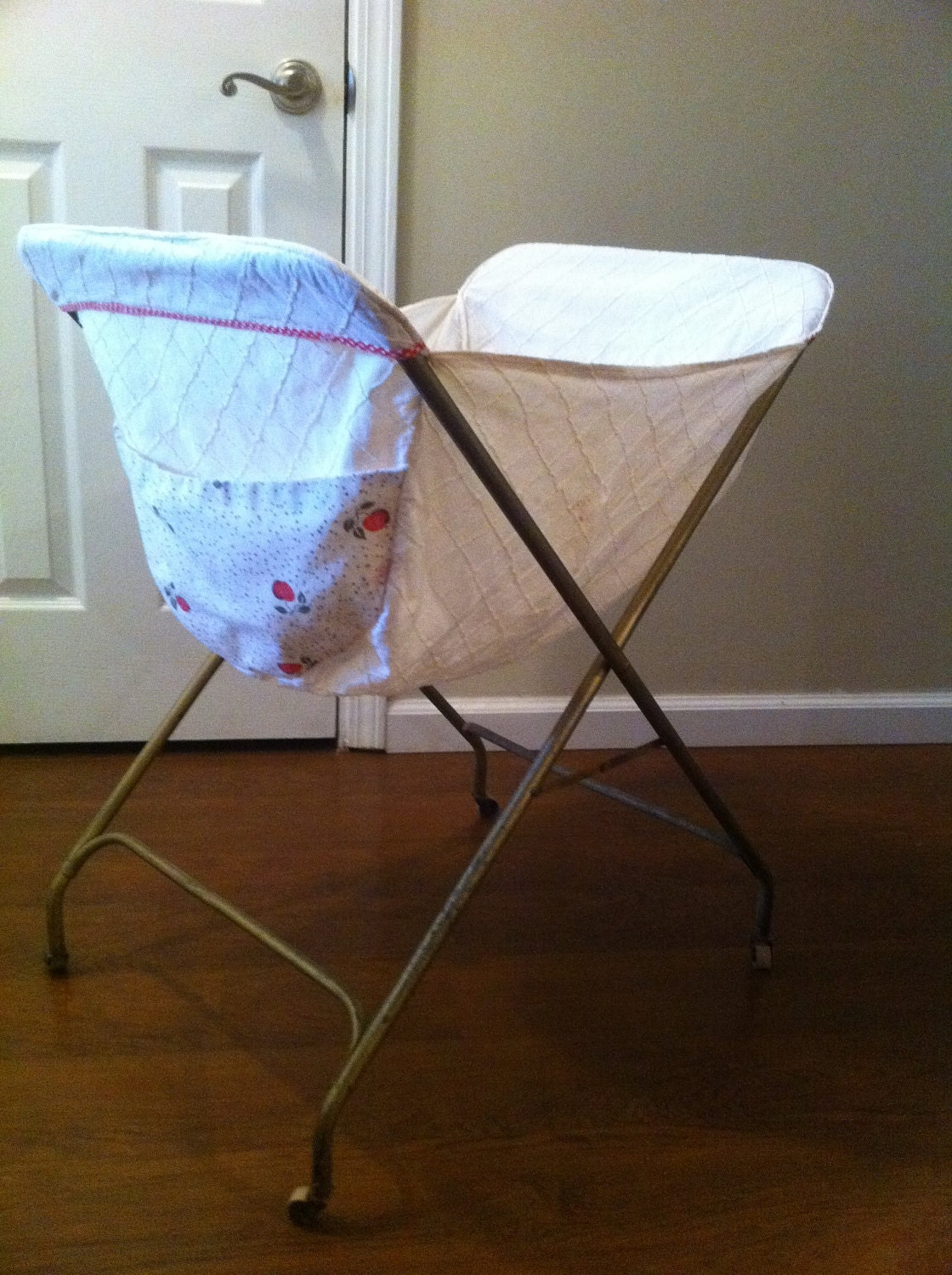 Vintage Fold Up Laundry Cart with Wooden Wheels