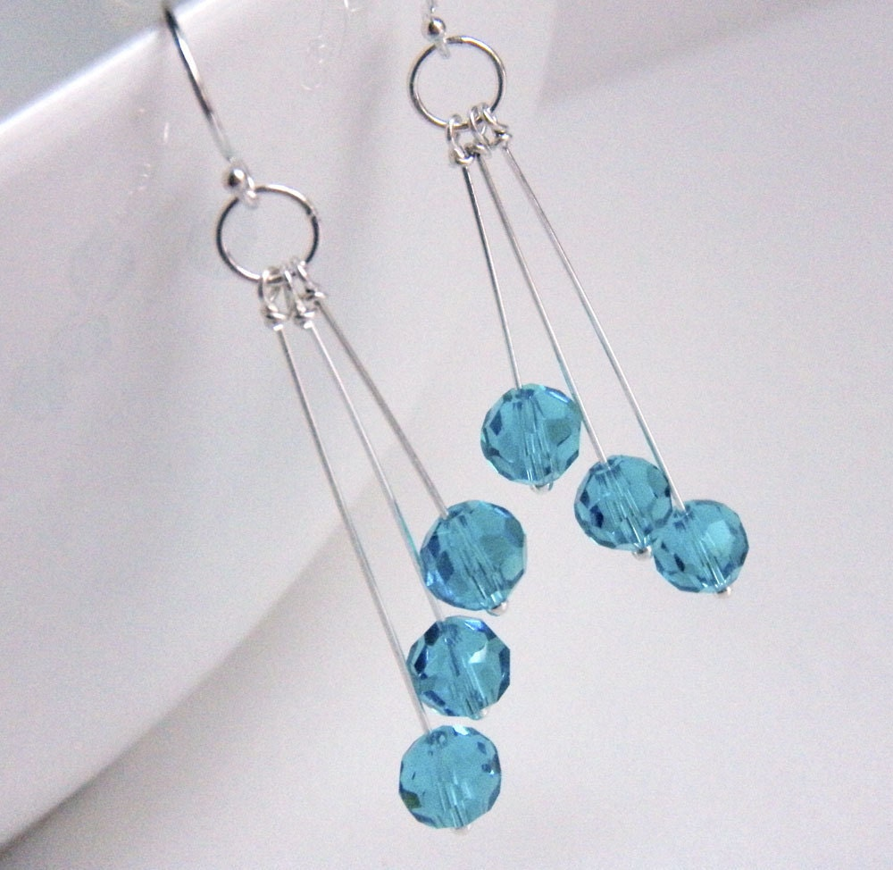Turquoise Crystal and Sterling Silver Earrings - Turquoise Tidbits - merryalchemy