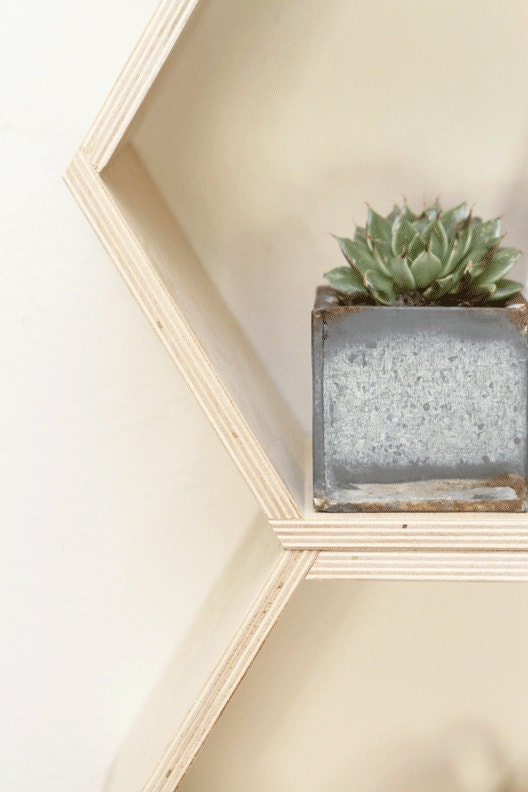 Spring Cleaning & Organization // Natural Finish Floating Honeycomb Shelves:  Set of 5 - HandmadeRiot