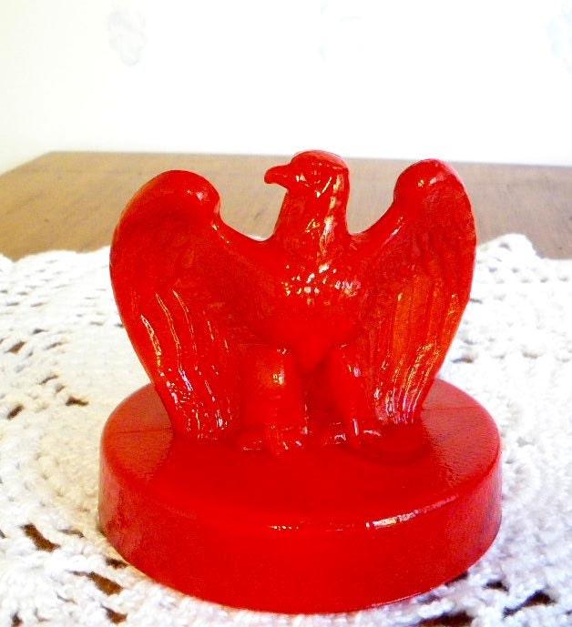 Fenton Eagle Paperweight Red Slag  Bicentennial - GotMilkGlassAndMore