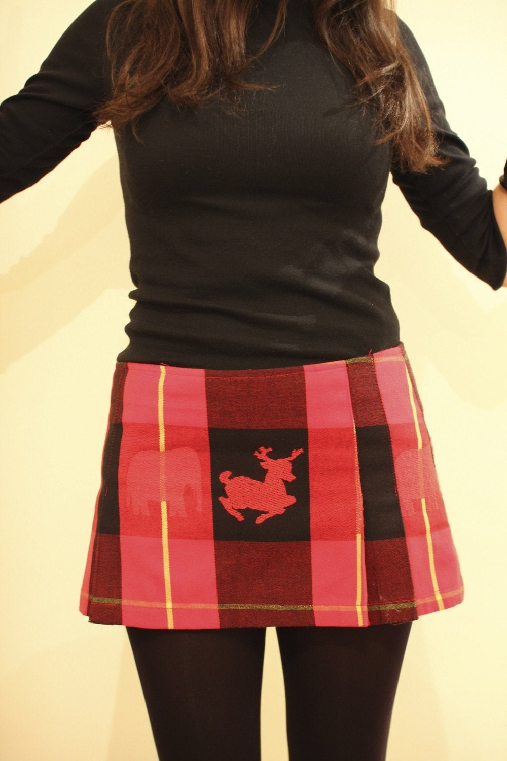 SALE SALE SALE (it was 25) red pleated mini skirt with deer and elephant apres ski
