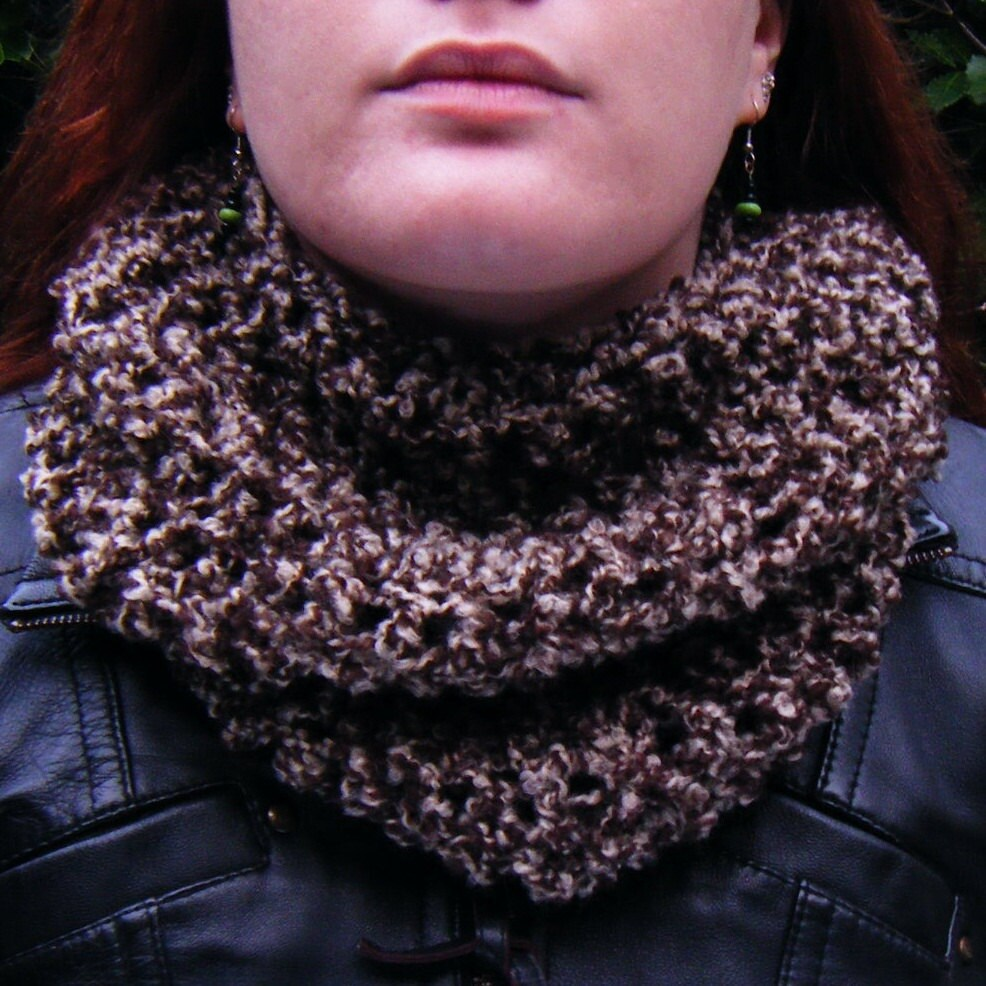 Handmade Chunky Crochet Cowl in Brown