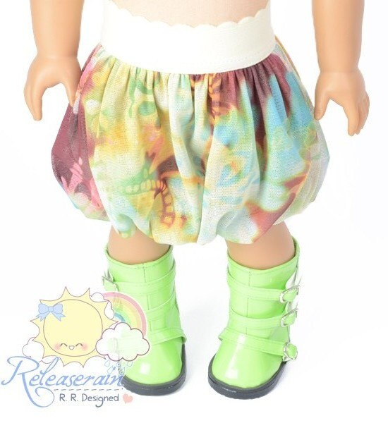 "Fairy Art Maroon/Yellow/Grass Green/Light Blue Mesh Tulle Bubble Skirt Doll Clothes Outfit for 18"" American Girl dolls"