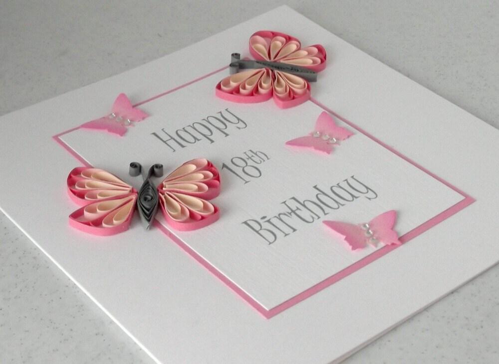 Восемнадцатой карты рождения, покрытый перьями, ручная работа, могут быть сделаны для любой день рождения