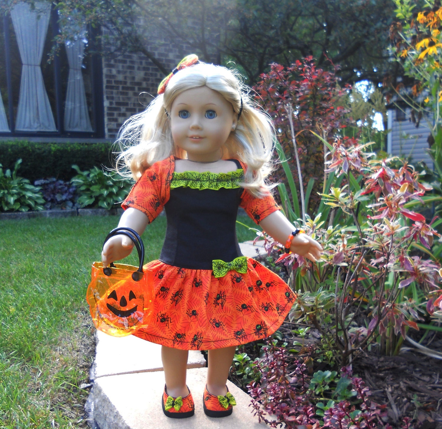 "American Girl Clothes - Halloween Dress - Orange Black Spiders - including Shoes - fits 18"" Dolls"