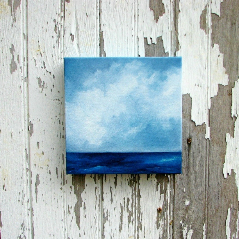 Seascape original art oil painting clouds nautical ocean painting 8x8 - Aiming for the Horizon - Stormscapestudio