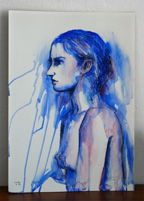 Original Mixed Media Watercolor Study Sketch Figure Nude Drawing Art by JUURI Size 14x20