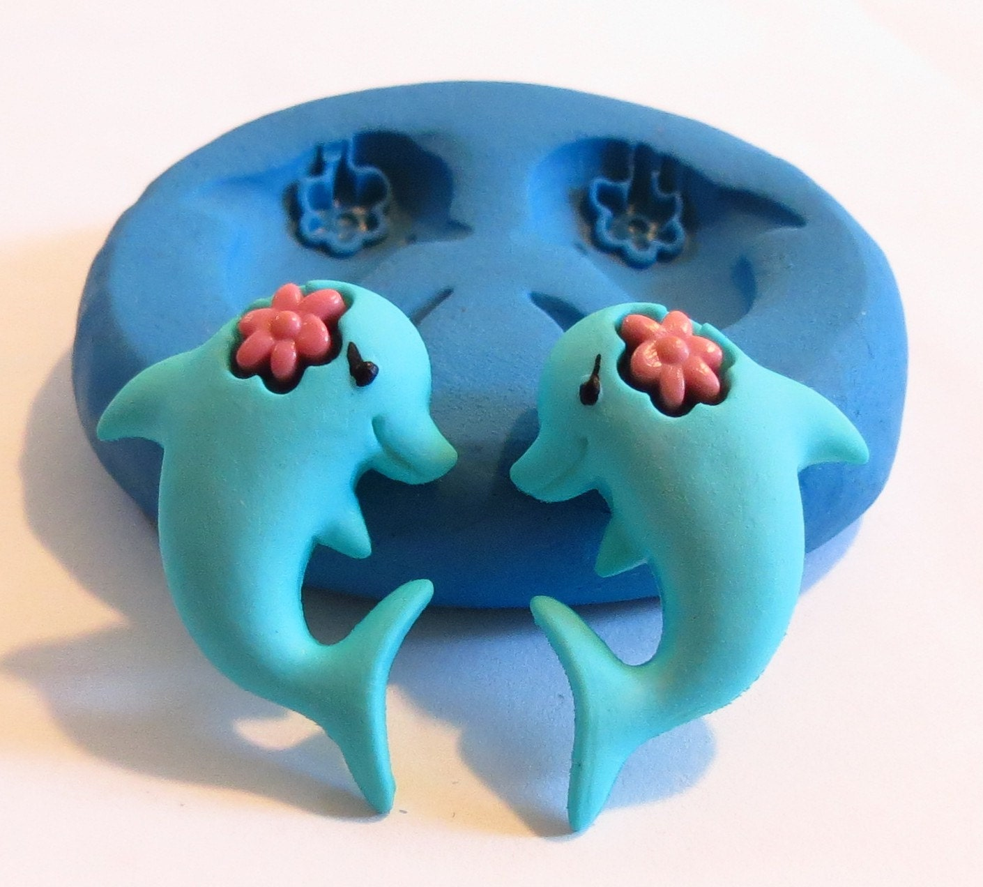Twin Dolphins - TCJ Flexible Craft Mold, Food approved, Jewelry Mold, PMC Mold, Resin Mold 06 - TheCopperJewel
