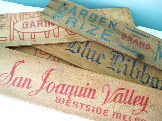 Rustic Charm... Vintage Advertising Wood Crate Label Signs