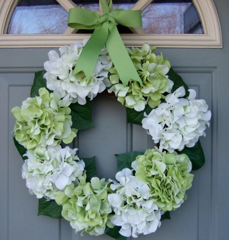 Spring Wreath -  Hydrangea Wreath - Spring Hydrangea Wreath - countryprim