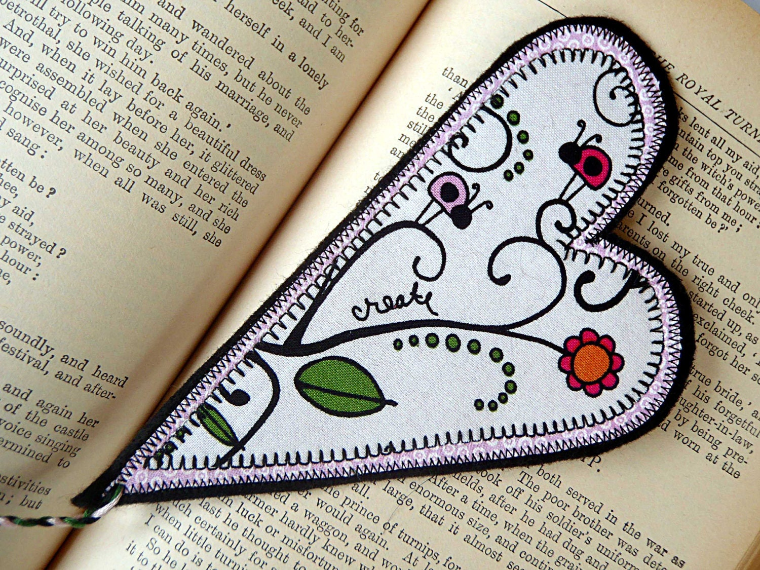 Valentine Heart Bookmark: Fabric wih Flowers and Lady Bugs, Pink Accent - ArtfullySew