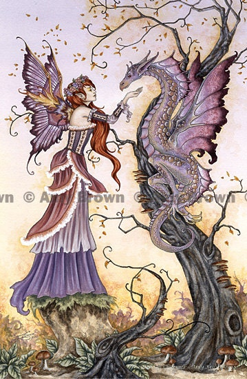 Dragon and fairy 8.5x11  PRINT by Amy Brown Dragon Charmer - AmyBrownArt