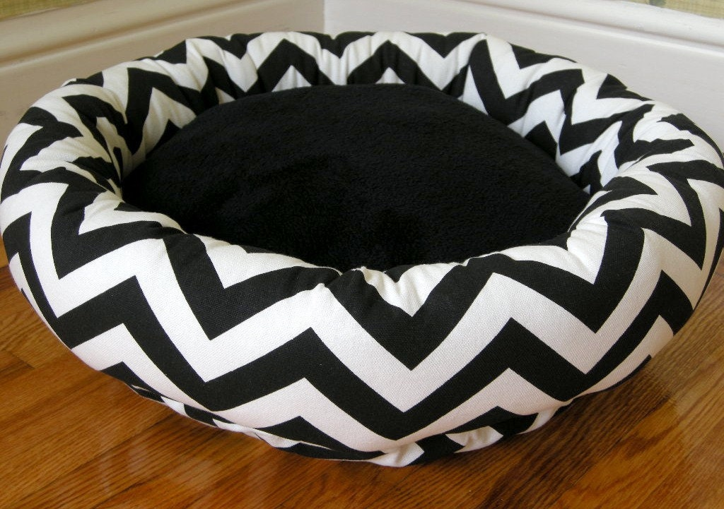 Dog Bed - Cat Bed - Stunning Black & White Stripes, Zig Zag, Chevron with Soft Minky Fleece