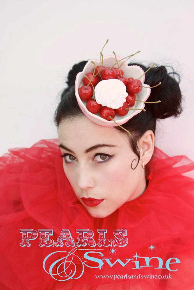 Fascinator Hat Headpiece Hair Accessory Cherry Burlesque Cherries Pinup Cheesecake by Pearls & Swine