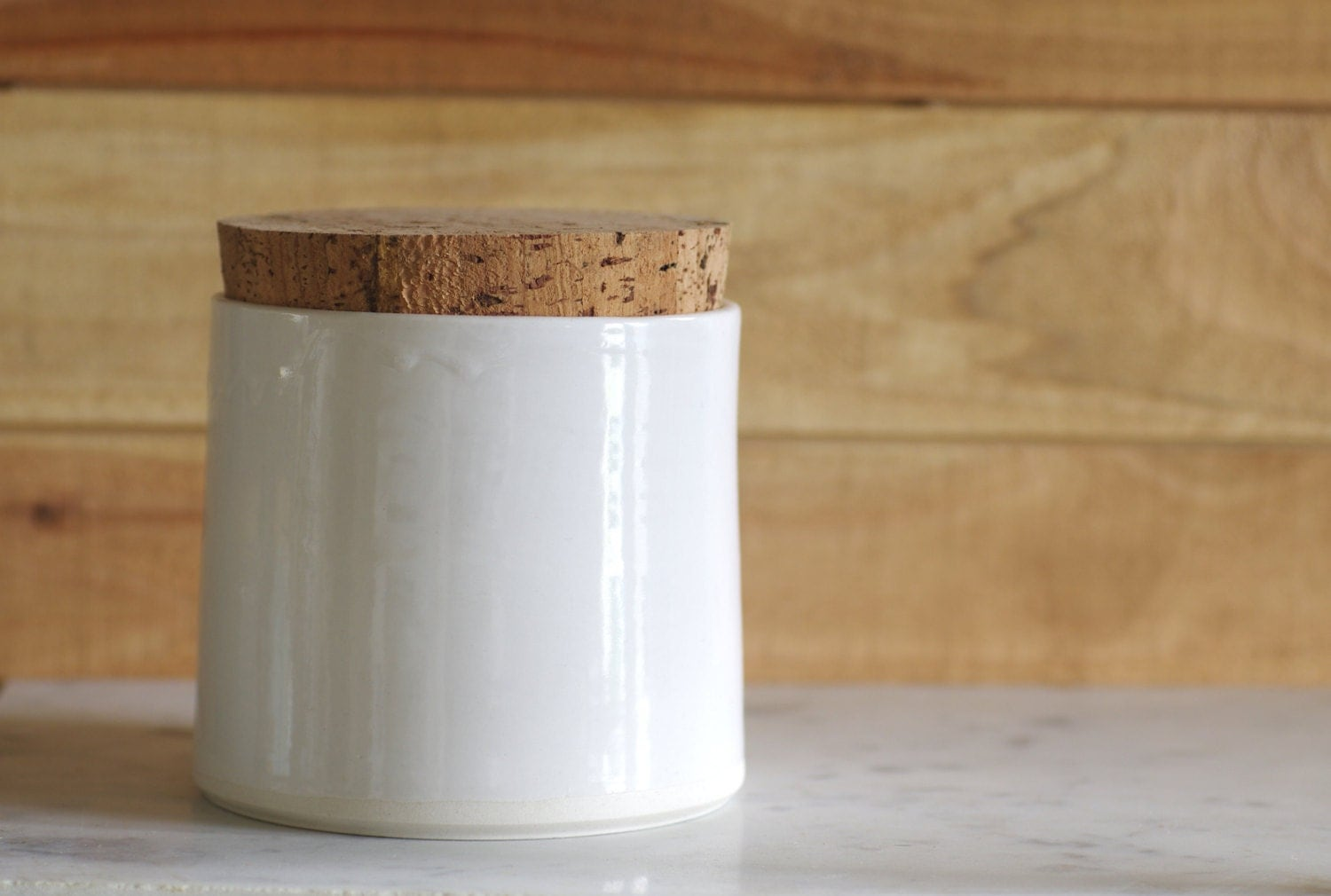 large porcelain canister. white pottery corked jar. modern minimal pottery ceramic - vitrifiedstudio