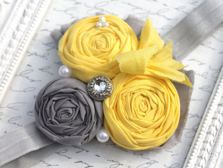 Yellow Shabby Chic Headband Grey And Yellow Headbands Rosette