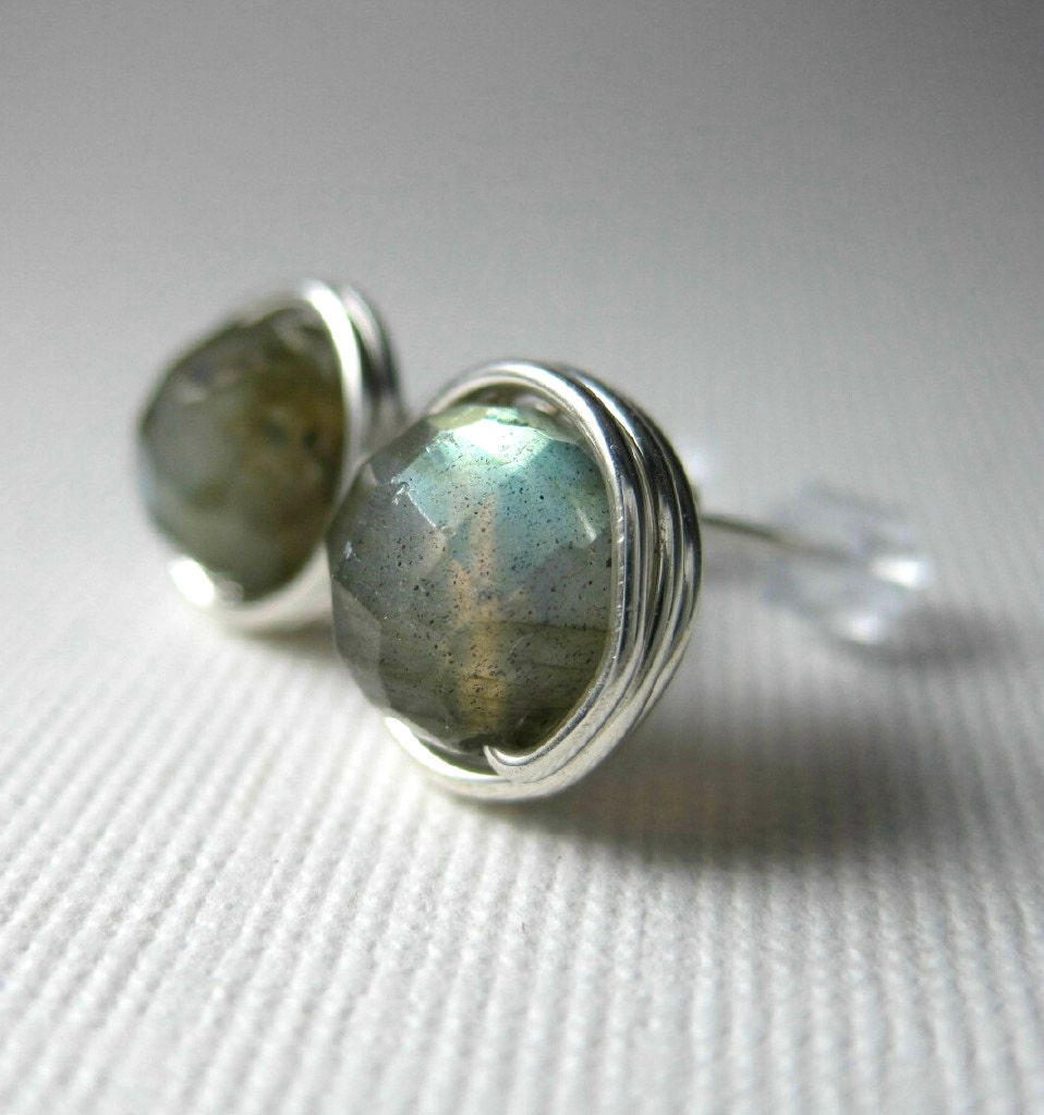 Labradorite Stud Earrings 8mm Faceted Wire Wrapped Sterling Silver --Simply Studs - holmescraft