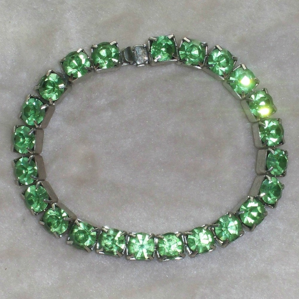 Vintage Rhinestone Bracelet Mint Green 1980s - 4dollsintime