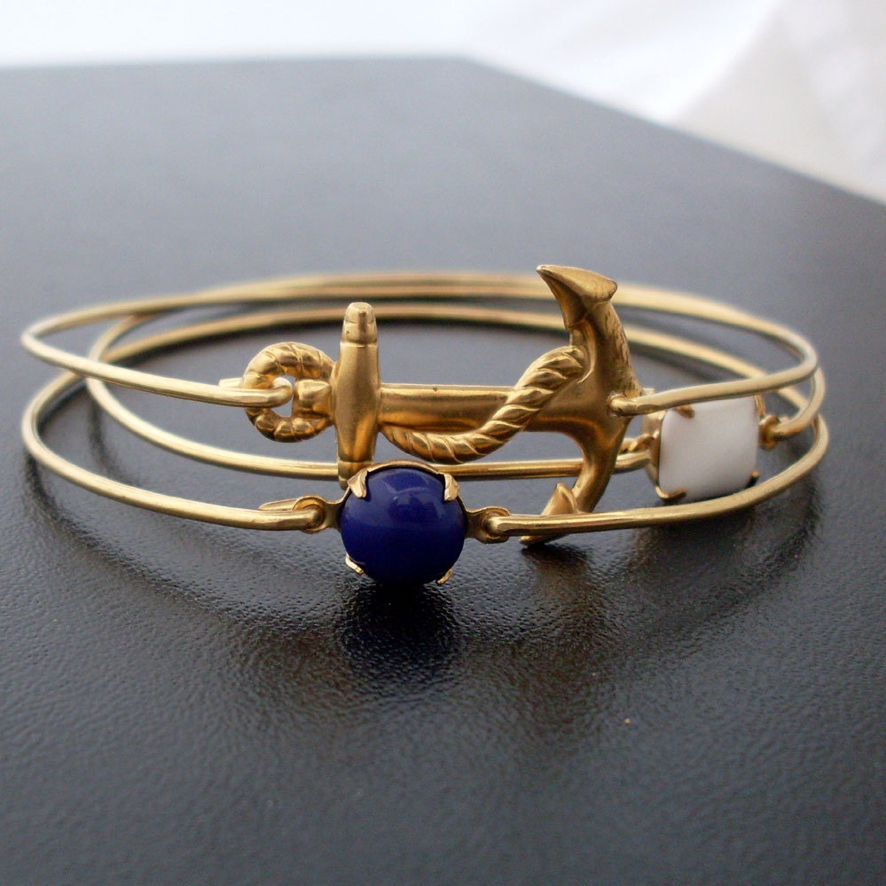 Bangle Bracelet Set Sailor Ahoy - Gold, Blue, White