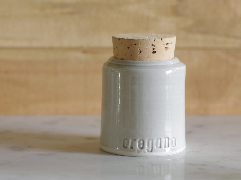 oregano spice bottle. corked jar. kitchen canister. porcelain with grey glaze. minimal modern utilitarian ceramics by vitrifiedstudio - vitrifiedstudio