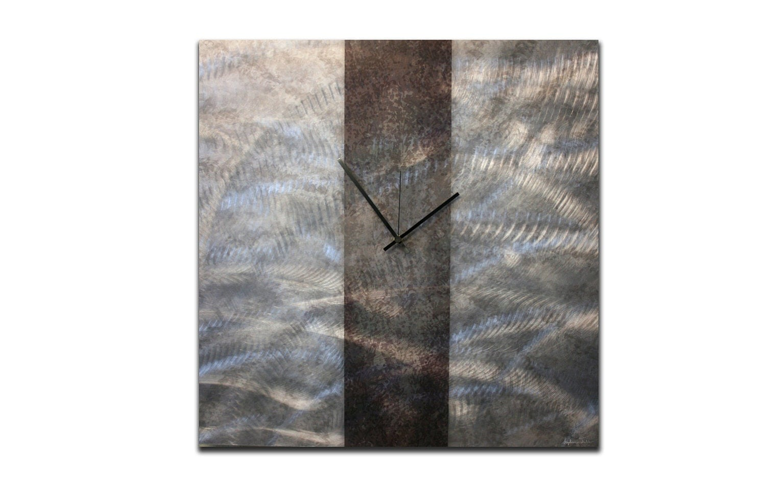 Winter Sale, 31% Off: Contemporary Metal Wall Clock - 24x24 in. Modern Artwork Home Decoration In Silver and Black - Silver Art Décor