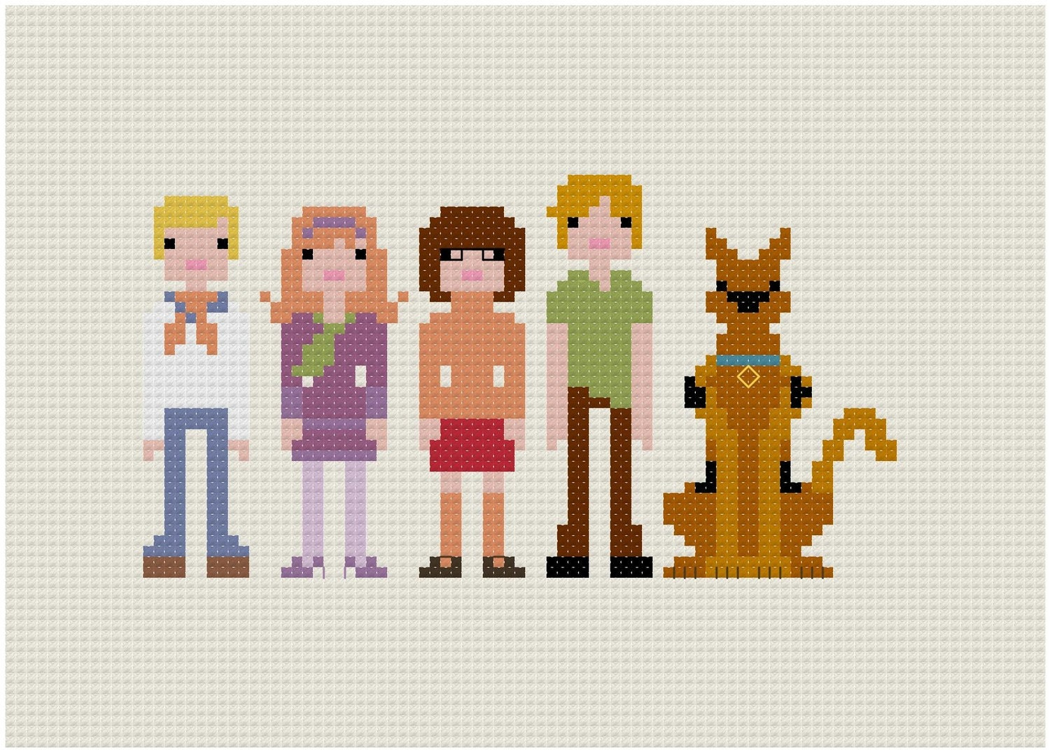 Pixel People - Scooby Doo, Where Are You - PDF Cross Stitch PATTERN