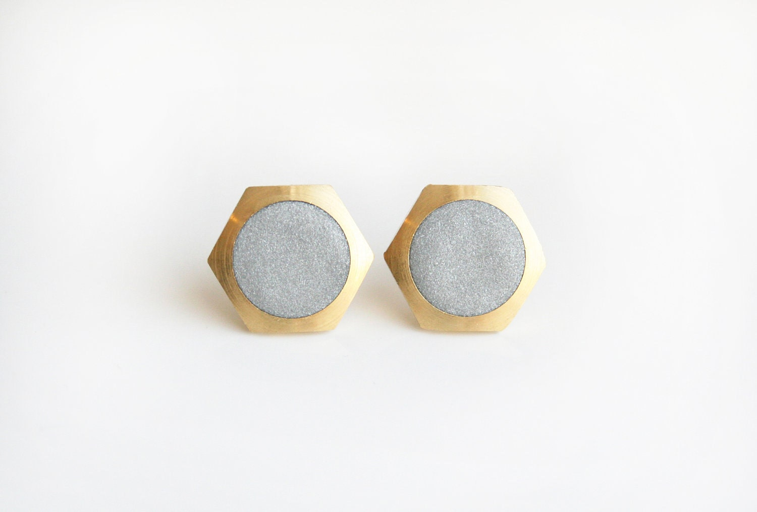 Silver geometric earring, honeycomb circle stud