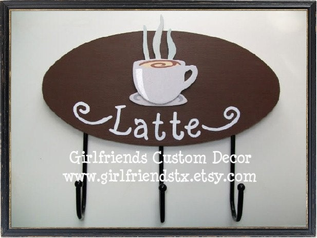 Latte Key Hooks Perfect Accessory for a Coffee by juniordesignco