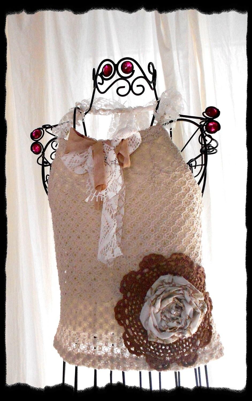 Эко чешские Хиппи шик Вторичное upcycled Холтер рубашку верхней цыганский выросла французская страна Ванильное крем-брюле