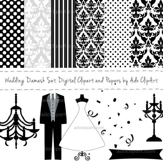 Wedding Damask Set Digital Clipart and Papers Elements for scrapbooking