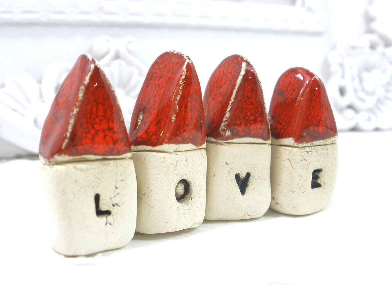 A set of tiny rustic ceramic LOVE houses  Miniature houses  Little houses  - elitett tbteam