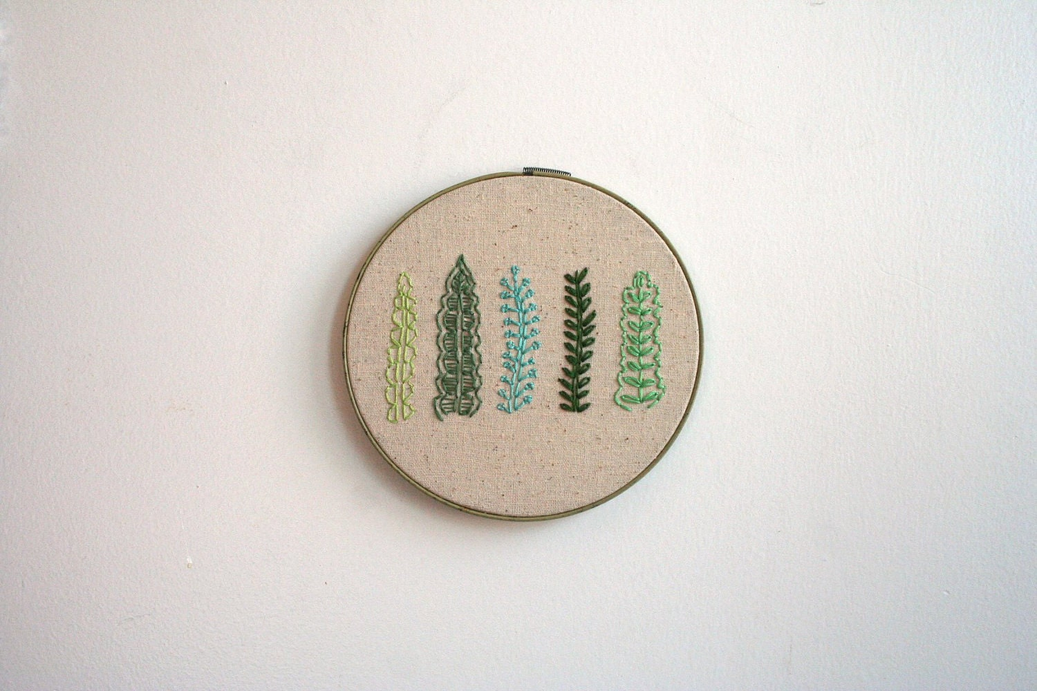 Hand Embroidery Hoop - The Green Gang - Moxiedoll