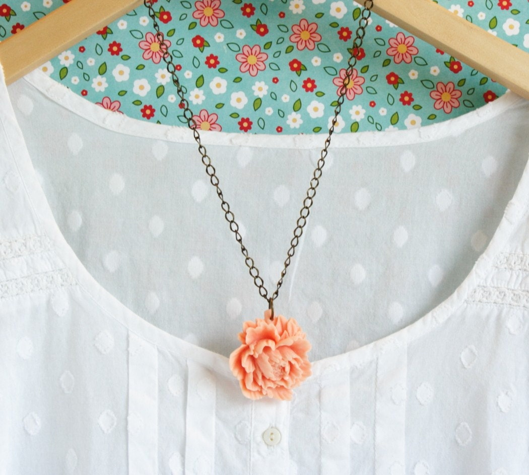 Peony Necklace Peach Flower on Brass Chain Shabby Chic Style