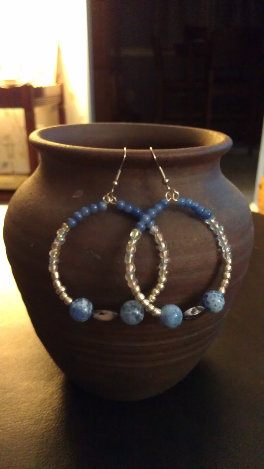 Blue, Silver, Gray, and Iridescent Beaded Hoop Earrings with Glass Beads