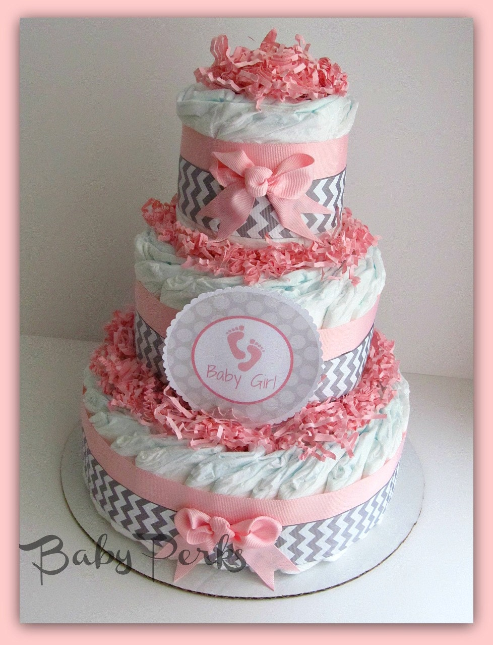 pin shower pink and grey safari diaper cake baby cake on pinterest