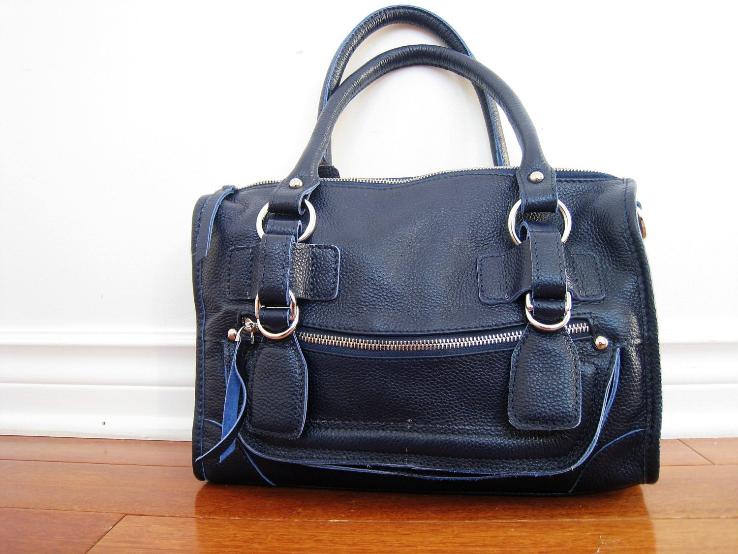 CLEO SMALL NAVY----Leather bag clip on laptop messenger satchel purse shoulder cross body bag