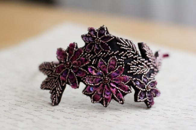 Beaded Spring Flower Garden Headband - pink, purple - neesiedesigns