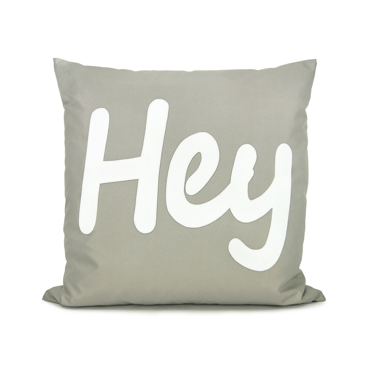 Gray and white pillow cover - White HEY applique on grey canvas, outdoor word decorative pillow cover - 18x18 accent pillow cover - ClassicByNature