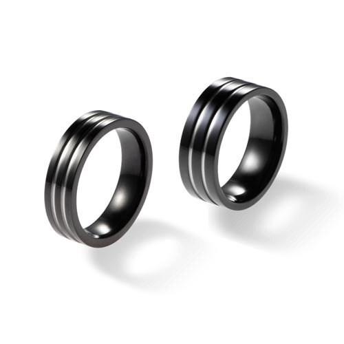 Black Titanium Rings Matching Black Titanium Wedding Bands 2 Polished