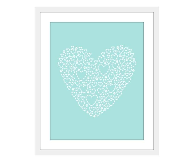Love Heart - Wall Art Print - Nursery Decor  - Mint - Soft Blue - Aqua - Original - Simple Modern - Pastel - Under 20 - AldariArt