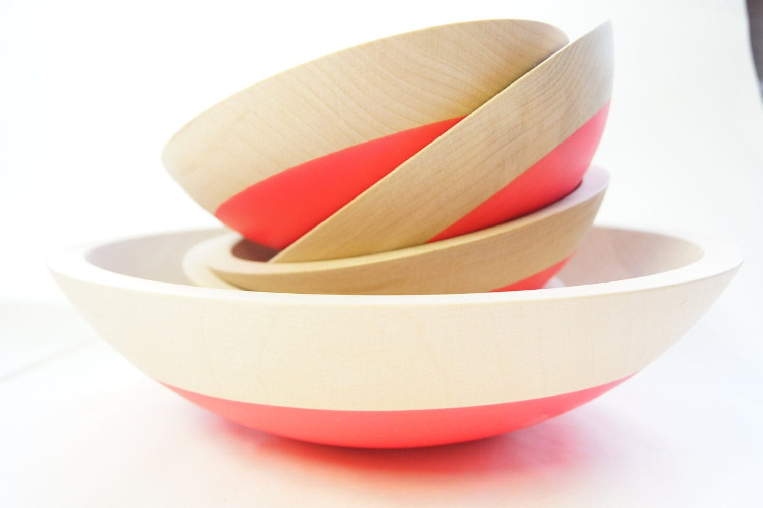 Wooden Salad Bowl Set of 5, Neon Pink, Summer Party, Picnic,