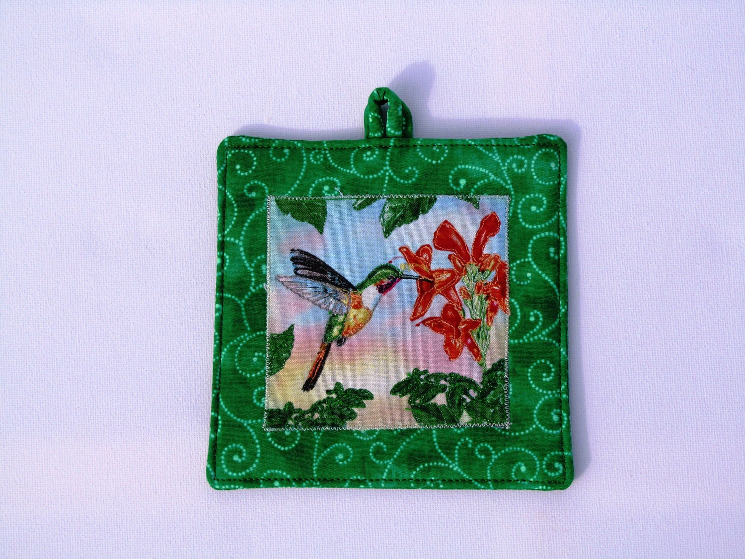 Shabbat Light switch cover mini quilt hummingbird