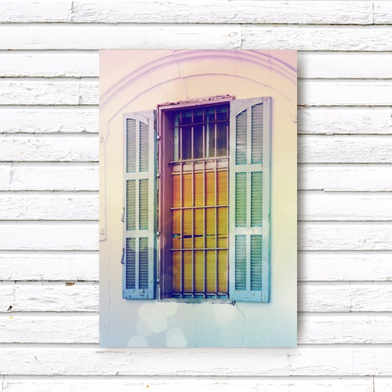 Window In The Village. Art Photograph 5x7 inch (13x18 cm) rainbow pastel colors, photo print, home decor wall art - petekdesign