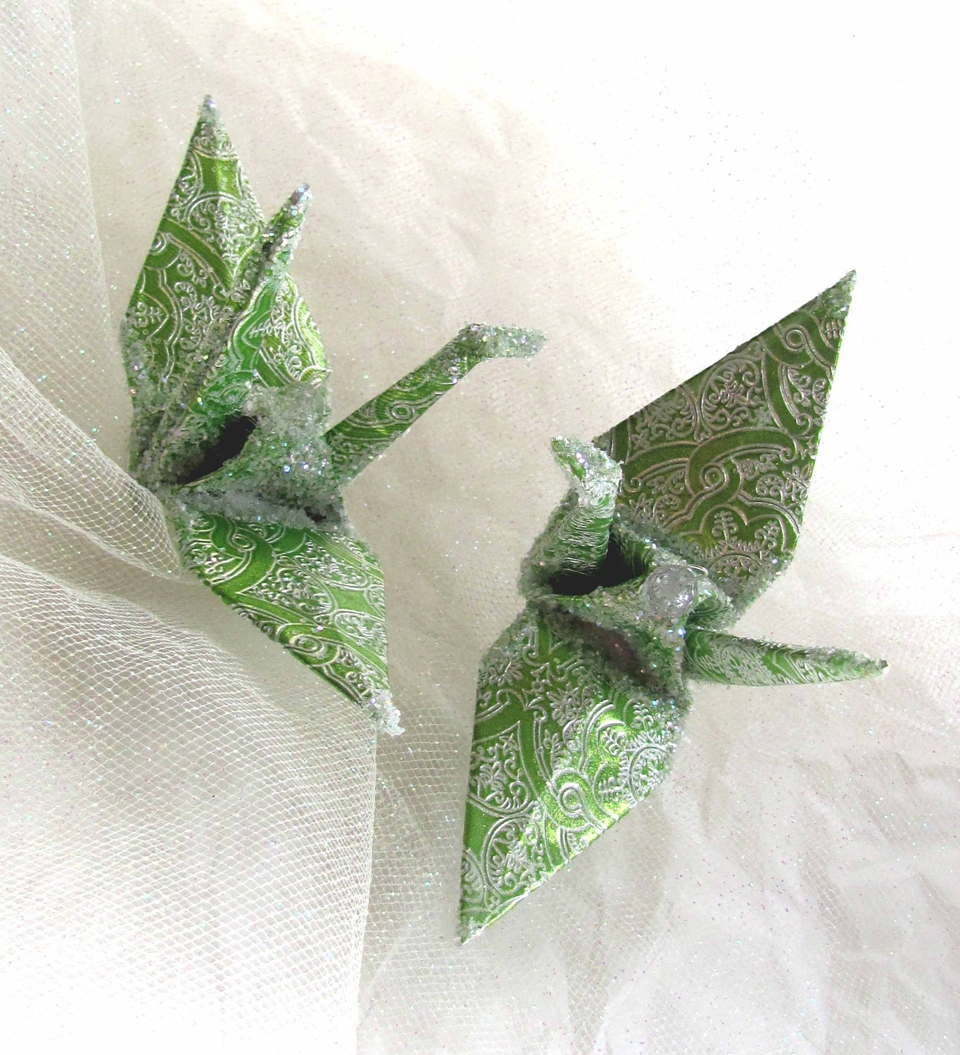 Brocade Peace Crane Origami Wedding Cake Topper Party Favor Ornament Bird Green Renaissance - localcolorist
