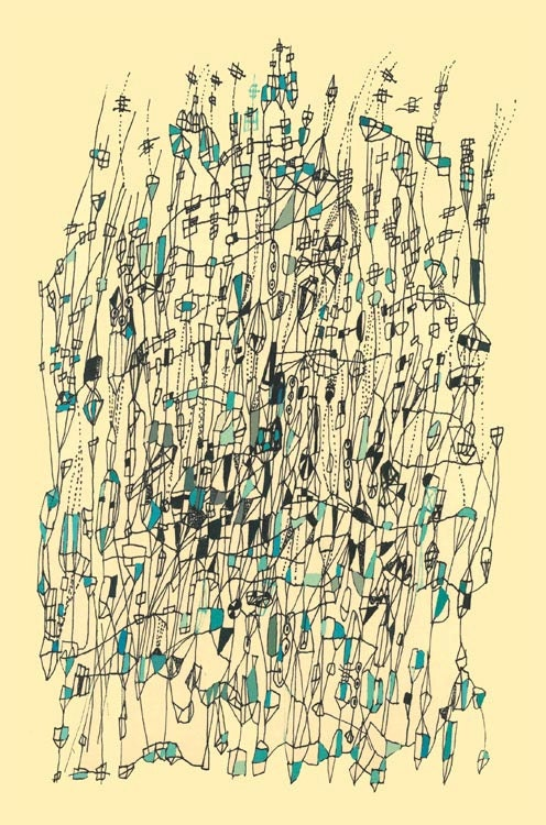 Quigley's Castle art print  line drawing  fine art abstract print abstract line drawing map art whimsical art 17 inches x 11 inches